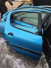 Peugeot 206 O/S Drivers side Rear door in blue - Color code KMF
