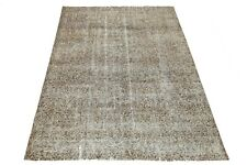 Antique Turkish Floral Brown Rug 6'7x9'7 Rug Distressed Oushak Hand Knotted Rugs