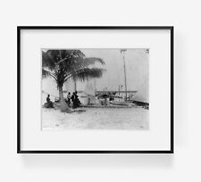 Vintage Photograph of Sailboats and fishing boats at landing, Palm Beach, Florid