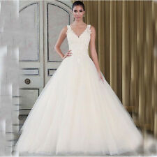 2017 Ball Gown V Neck Lace Applique Chapel Train Long Weeding Dress Bridal Gown