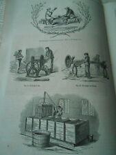 Procédés pour la préparation du Lin 1856 Gravure Old Print