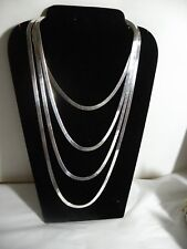 "LOT 4 SILVER 925 STERLING SILVER NECKLACE FLAT SNAKE 18"", 22"", 26"", 30"" Christma"