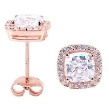 Silver  Micro Pave Halo with Cushion Center stud earrings .925 Rose Silver