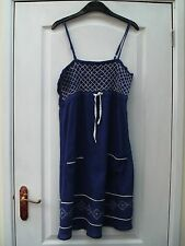 ATMOSPHERE BLUE CRINKLE COTTON WHITE EMBROIDERED TRIM STRAPPY TUNIC SUMMER DRESS