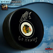 "Artemi Panarin Autographed Chicago Black Hawks Puck    ""GO HAWKS"""