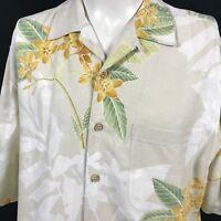Tommy Bahama Hawaiian Shirt Size Large Silk Floral Camp Aloha Tan