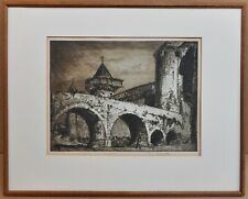The Moat Carcassonne, France. Signed Etching by Sir Frank Brangwyn RA, c 1910