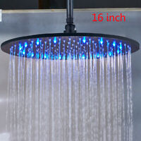 16-inch LED Shower Head Ceiling/Wall Mount Oil Rubbed Bronze Rain Round Sprayer