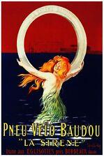 Pneu Velo Baudou - La Sirene Tire - French Mermaid Advertising Poster (22 x 28)