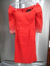 MAC DUGGAL COUTURE SZ 2 FITTED RED DRESS 3/4 RHINESTONE SLEEVE SCOOP NECKLINE