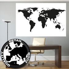 XXL Poster Weltkarte schwarz-weiß Wandbild Landkarte Kontinente map 140 x 100 cm