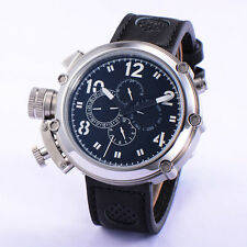 Sport 50mm Parnis Automatic Movement Black Dial White Numbers Big Face Men Watch