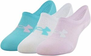 UNDER ARMOUR Breathe Lite Ultra Low 3-Pack Socks sz Medium (6-9) Pink Blue Gray