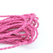 New 5M Pink Leatheroid Braided Cord Necklace Bracelet Jewelry Craft DIY