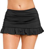 Women Mix Skirted Bikini Ruffled Brief Bottoms  Plus Size Swim Skirt