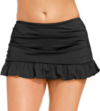Women Mix Skirted Bikini Ruffled Brief Bottoms  Plus Size Swim Skirt