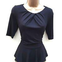 Karen Millen 10 UK Black Jersey Ruffle Peplum T Shirt Top Blouse Casual Business