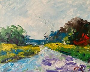 Windy Day Landscape Oil Painting Collectable Texture Impasto Impressionism