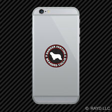 Danger Farting Bearded Collie Cell Phone Sticker Mobile Die Cut