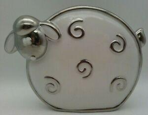 "8"" Sheep Figurine Porcelain Ceramic Silver Platinum Trim Bath Body Works Slatkin"