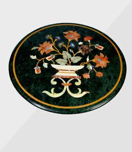 "18"" Green Marble coffee Table Top Pietra Dura Handmade art work"