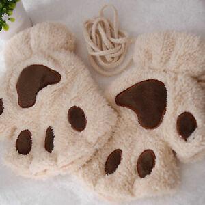 Women Girls Cat Claw Paw Gloves Cute Plush Winter Warm Short Half Finger Mitten#