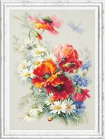 Counted Cross Stitch Hand Embroidery Kit Poppies and Daisies Chudesnaya Igla