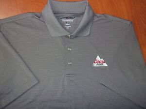 Pebble Beach Coors Light Beer Performance Stretch Striped Golf Polo Shirt M NEW