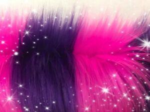 Cheshire Cat Faux Fur Shag Fabric Piece Choose size Hot Pink Purple Striped