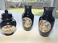 HEISEI JAPAN Black Porcelain Vases Quail, Butterfly, Hummingbird design Set of 3