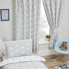 """Right Home Grey and White Stars Lined Curtains 66"""" X 54"""" Drop Kids Bedroom"""