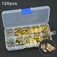 120pcs M3 Male Female Brass Nut Standoff Spacer PCB Board Assorted Hex Screw Kit