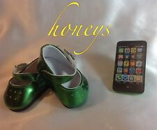 For American Girl & Bitty Twin Dolls Clothes Trendy GREEN METALLIC SHOES & PHONE
