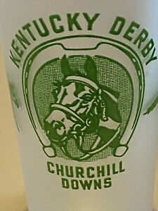 Kentucky Derby 1948 Churchill Downs Frosted Glass (clear bottom)