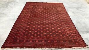 Hand Knotted Vintage Afghan Turkmon Basheeri Bashkiri Wool Area Rug 10 x 7 Ft