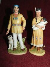 Homco Native American Indian Man 1404 & Woman w/Baby 1447 Home Interior Figurine