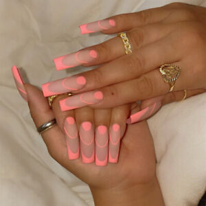False nails UV Gel Long Coffin Pink Outlined Tips 24pk + glue by Beautiful nails