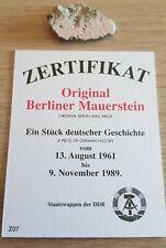 Small Colorful Original Piece of The Berlin Wall 3 cm x 2 cm Collectors Item COA
