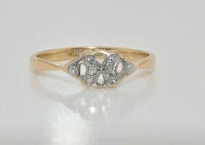 18ct gold & platinum small diamond panel ring size O