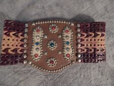 1920-1940's Jeweled Motorcycle Kidney Belt--Leather, brass, all Original