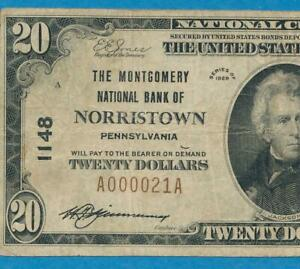 $20. 1929  T-I THE MONTGOMERY N.B. OF  NORRISTOWN  PENNSYLVANIA  CHART. #1148