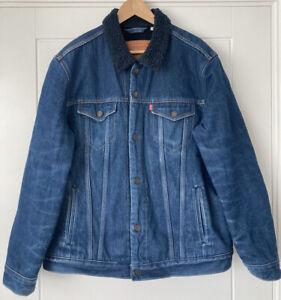 Levis Straus Mens Blue Denim Sherpa Lined Jacket Size XL