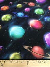 """Planets Solar System Cosmos Heavy 4 Way Stretch Nylon Lycra Fabric 58"""" W BTY"""