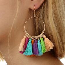 Fashion Popular Bohemia Gold Plated Round Shaped Thread Tassel Women Earrings