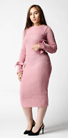 ex ASOS Pink Knitted Rib Midi Jumper Dress with Knotted Cuffs RRP £30 Sizes 4-18