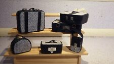 doll house items 6 x handmade leather/material travel luggage 1.12th A4