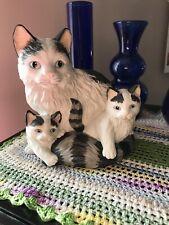 Vintage Homco #1412 Ceramic Cat & Kittens Figurine Black Gray & White