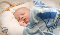 Personalised baby blanket - Blue/Boy/Name/christening/Newborn/Unisex/Cute/Baby