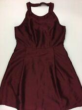 Modcloth Dress Large A-Line Fervour Burgundy Wine Halter Open Back Retro