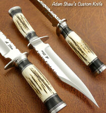 Adam Shaw's CUSTOM HAND MADE MIRROR POLISHED BOWIE KNIFE STAG ANTLER HANDLE
